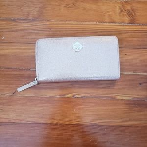 Kate spade rose gold glitter wallet